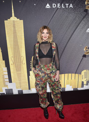 Julia Michaels pulled her look together with a pair of black lace-up platform boots by Alaïa.