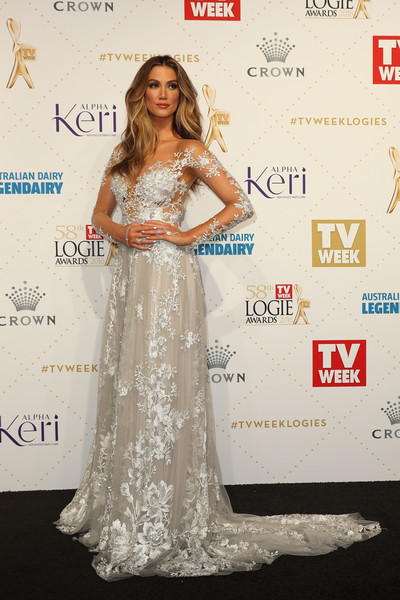 Delta Goodrem Embroidered Dress
