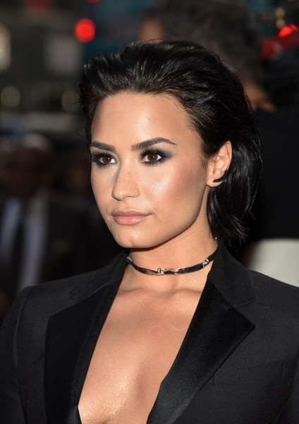 Demi Lovato Sterling Choker Necklace [10th annual women in music,hair,hairstyle,eyebrow,lip,beauty,chin,black hair,forehead,premiere,long hair,demi lovato,arrivals,new york city,cipriani 42nd street,billboard]