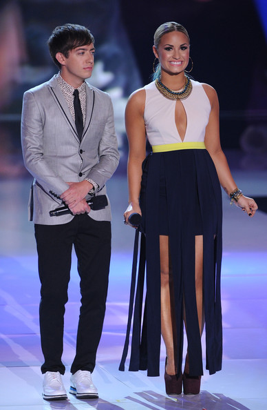 Demi Lovato Cutout Dress [fashion model,fashion,fashion show,event,runway,public event,formal wear,fashion design,performance,dress,hosts,kevin mchale,demi lovato,teen choice awards,universal city,california,gibson amphitheatre,2012 teen choice awards]
