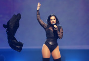 Demi Lovato gave her bodysuit a dose of edge with an oversized leather belt.