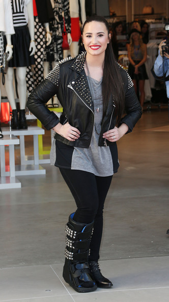 Demi Lovato Leather Jacket [clothing,leather,jacket,footwear,jeans,leather jacket,fashion,beauty,outerwear,leggings,arrivals,demi lovato,california,los angeles,the grove,topshop,topman,la grand opening,topman british street party to celebrate the la opening moment]