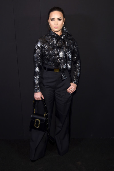 Demi Lovato Leather Shoulder Bag [marc jacobs spring 2017 runway show,clothing,fashion,runway,fashion model,fashion show,design,pattern,trousers,outerwear,photography,demi lovato,backstage,new york city,hammerstein ballroom,fashion show,marc jacobs spring 2017]