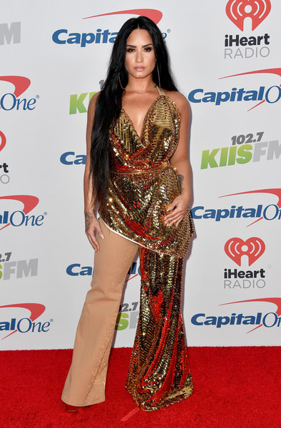 Demi Lovato Cowl Neck Top [jingle ball 2017,red carpet,clothing,carpet,shoulder,joint,long hair,flooring,dress,fashion model,event,arrivals,demi lovato,inglewood,california,kiis fm,capital one,the forum]