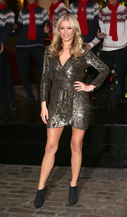 Denise van Outen sparkled in her wrapped glitter mini dress at the launch of Freeview+.
