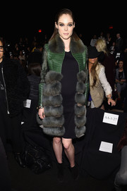Coco Rocha amped up the luxe factor in a green and gray alligator and fur coat by Dennis Basso during the brand's fashion show.
