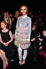 Giuliana Rancic looked oh-so-posh in a fur/crocodile coat during the Dennis Basso fashion show.