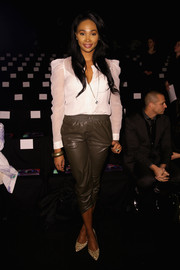Nana Meriwether attended the Desigual fashion show wearing a demure white button-down.