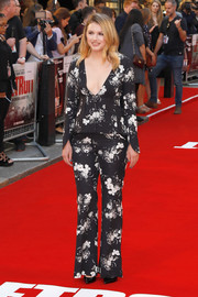 Hannah Murray opted for a black-and-white floral pantsuit by Erdem when she attended the European premiere of 'Detroit.'