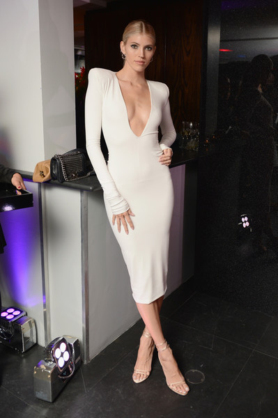 Devon Windsor Strappy Sandals [clothing,white,shoulder,dress,fashion model,fashion,neck,beauty,leg,cocktail dress,alain mikli,alexandre vauthier,new york city,launch party,devon windsor,alexandre vauthier launch party]