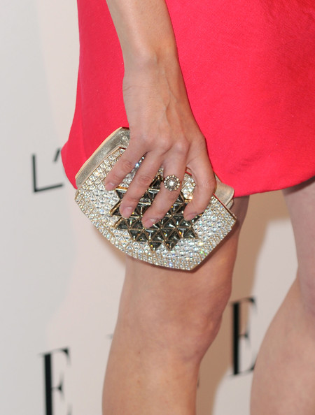 Diane Kruger Gemstone Inlaid Clutch [elle,joint,footwear,fashion,leg,waist,cocktail dress,hand,dress,nail,thigh,17th annual women in hollywood tribute,beverly hills,california,the four seasons hotel,17th annual women in hollywood tribute - arrivals,diane kruger]