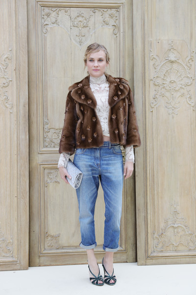 Diane Kruger Studded Heels [valentino : outside photocall,clothing,fur,jeans,denim,fashion,brown,fashion show,outerwear,footwear,beige,diane kruger,valentino,part,paris,france,paris fashion week womenswear spring,show]
