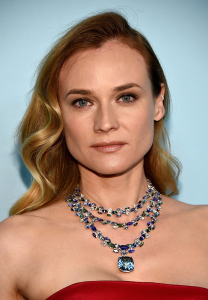 Diane Kruger Layered Gemstone Necklace [blue book,hair,face,hairstyle,eyebrow,shoulder,beauty,blond,chin,lip,necklace,arrivals,diane kruger,new york city,the cunard building,tiffany co,gala,blue book gala]