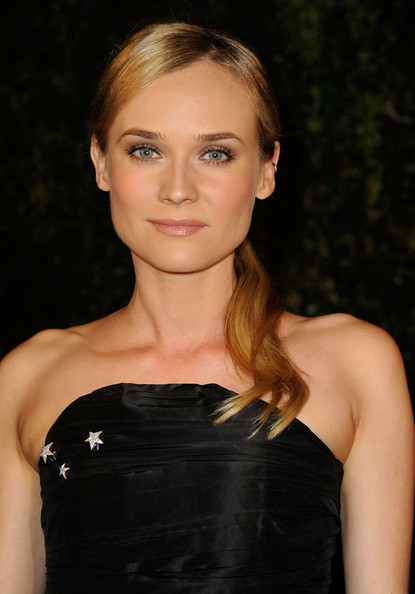 Diane Kruger Ponytail [hair,hairstyle,beauty,shoulder,blond,eyebrow,lip,chin,cocktail dress,dress,diane kruger,madeo restaurant,los angeles,california,chanel,charles finch pre-oscar,dinner]
