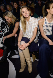 Jessica Hart donned a silk blouse with a subtle print for the Diane Von Furstenberg fashion show.
