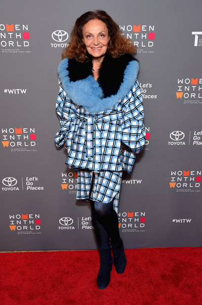 Diane von Furstenberg Ankle Boots [eighth annual women in the world summit,diane von furstenberg,clothing,fur,carpet,fashion,premiere,footwear,outerwear,fur clothing,red carpet,flooring,lincoln center for the performing arts,new york city]