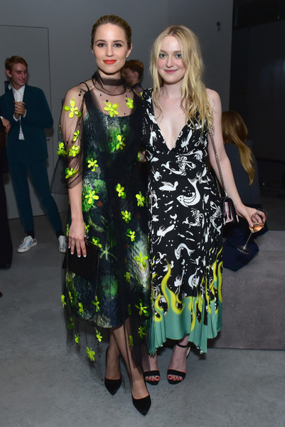Dianna Agron Print Dress [clothing,fashion model,fashion,dress,fashion design,hairstyle,event,cocktail dress,long hair,haute couture,arrivals,dakota fanning,dianna agron,front row,new york city,prada resort 2019 fashion show,fashion show]