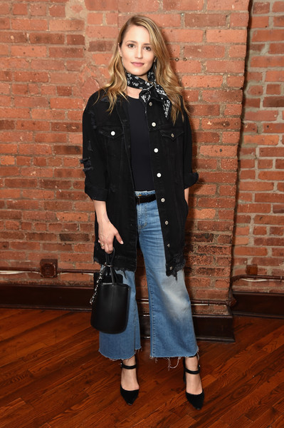 Dianna Agron Flare Jeans [jury,diana agron,clothing,fashion,denim,outerwear,coat,jeans,brown,street fashion,footwear,waist,welcome lunch,lunch,tribeca film festival,tribeca grill loft,new york city]