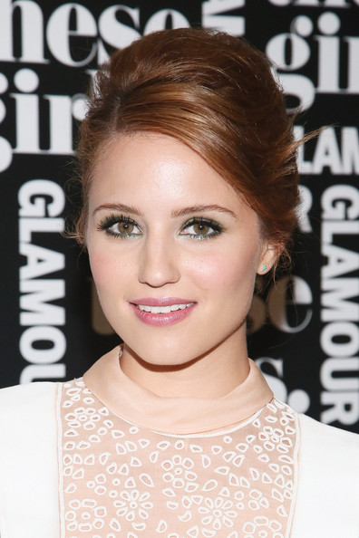 Dianna Agron Beehive [these girls,hair,eyebrow,beauty,hairstyle,fashion model,eyelash,forehead,long hair,brown hair,flooring,glamour presents ``these girls,dianna agron,presentation,joes pub,new york city,glamour]
