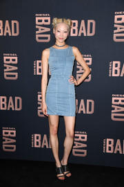 Soo Joo Park was edgy-casual in a fitted denim dress at the launch of Diesel's new fragrance for men.