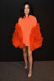 Halsey sported an orange hoodie (and no pants!) at the Dion Lee fashion show.