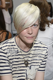 Kate Lanphear attended the Dion Lee fashion show wearing her signature platinum-blonde side-swept bangs.
