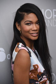 Chanel Iman wore her long locks straight with a deep side part during the 'Dior and I' New York premiere.