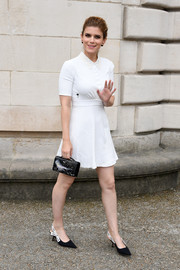 Kate Mara styled her dress with a pair of monochrome kitten heels, also by Dior.