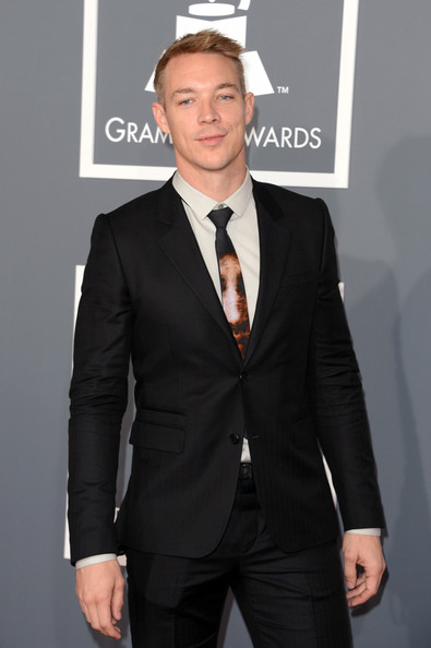 Diplo Novelty Tie [suit,formal wear,clothing,tuxedo,white-collar worker,hairstyle,fashion,premiere,outerwear,tie,arrivals,producer,diploarrives,staples center,los angeles,california,55th annual grammy awards]