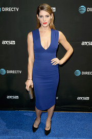 Ashley Greene showed off her toned physique in a fitted blue dress by Victoria Beckham during DirecTV Super Saturday Night.