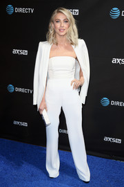 Julianne Hough looked super slim in her white Alexia Maria tube top while attending DirecTV Super Saturday Night.
