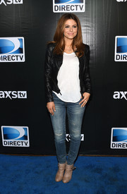 Maria Menounos was rugged in ripped jeans and a leather jacket during the DirecTV Super Saturday Night.