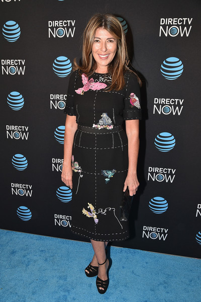 Nina Garcia attended the DirecTV Now launch wearing an adorable bird-embroidered sheath dress.