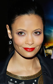 Thandie Newton's cherry red lips gave the actress' red carpet look a touch of retro-glam.