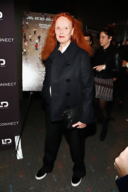 Grace Coddington kept her evening look simple and chic with this black pea coat.