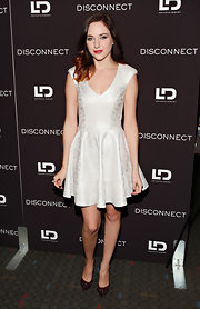 Haley Ramm chose a fitted white frock with a V-neck and flare skirt while at the 'Disconnect' screening in NYC.