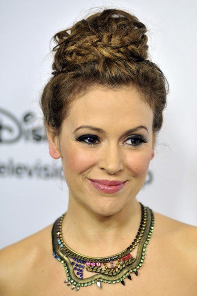 More Pics of Alyssa Milano Braided Bun (1 of 9) - Alyssa Milano Lookbook - StyleBistro