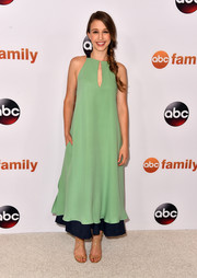 Taissa Farmiga cut a pretty picture in a tiered seafoam green and navy maxi dress at the Disney Group's Summer TCA Press Tour.