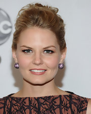 Jennifer Morrison looked ultra feminine on the red carpet with a lace sheath dress paired with purple pave studs.