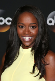 Aja Naomi King left her locks down with a side part and subtle waves during the TCA Summer Press Tour.