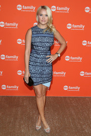 Emily Osment chose a blue and black lace cocktail dress for the TCA Summer Press Tour.