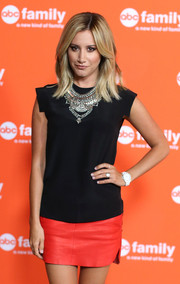 Ashley Tisdale glammed up her casual outfit with a Sienna statement necklace by Dylanlex during the TCA Summer Press Tour.
