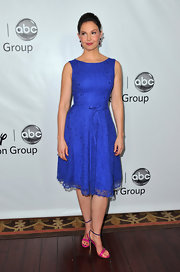Ashley Judd looked sweet in a violet lace cocktail dress for the Disney Press Tour.