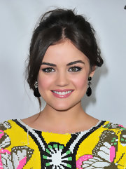 Lucy Hale wore her hair in a casually mussed updo with long face-framing tendrils during the TCA Winter Press Tour.