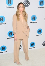 Chloe Bennet kept it simple in a nude pantsuit at the Disney ABC Television TCA Winter Press Tour.