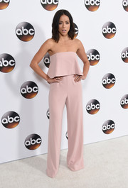Chloe Bennet was a total cutie in a strapless pink jumpsuit with a layered bodice at the Disney ABC Television Group Winter TCA Tour.