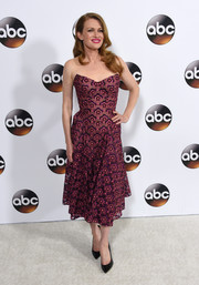 Mireille Enos exuded feminine charm wearing this strapless burgundy floral frock by Zac Posen at the Disney ABC Television Group Winter TCA Tour.