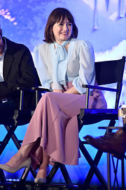 Emily Mortimer kept it prim and proper in a pastel-blue pussybow blouse at the 'Mary Poppins Returns' press conference.