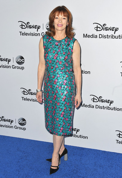 Frances Fisher's turquoise and pink frock gave the star a totally playful and whimsical look at the Disney Media Upfront Event.