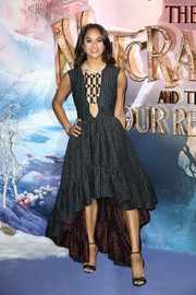 Misty Copeland went for edgy glamour in a charcoal high-low dress with a cutout bodice at the European premiere of 'The Nutcracker.'